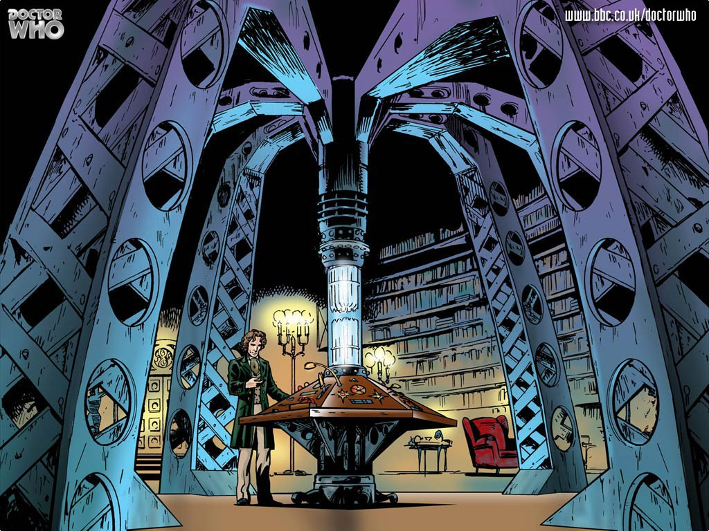 Eight standing at his TARDIS console