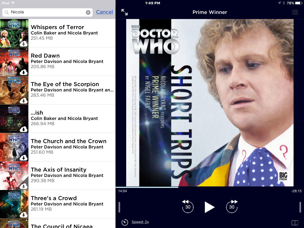 Big Finish audiobook player app on iOS