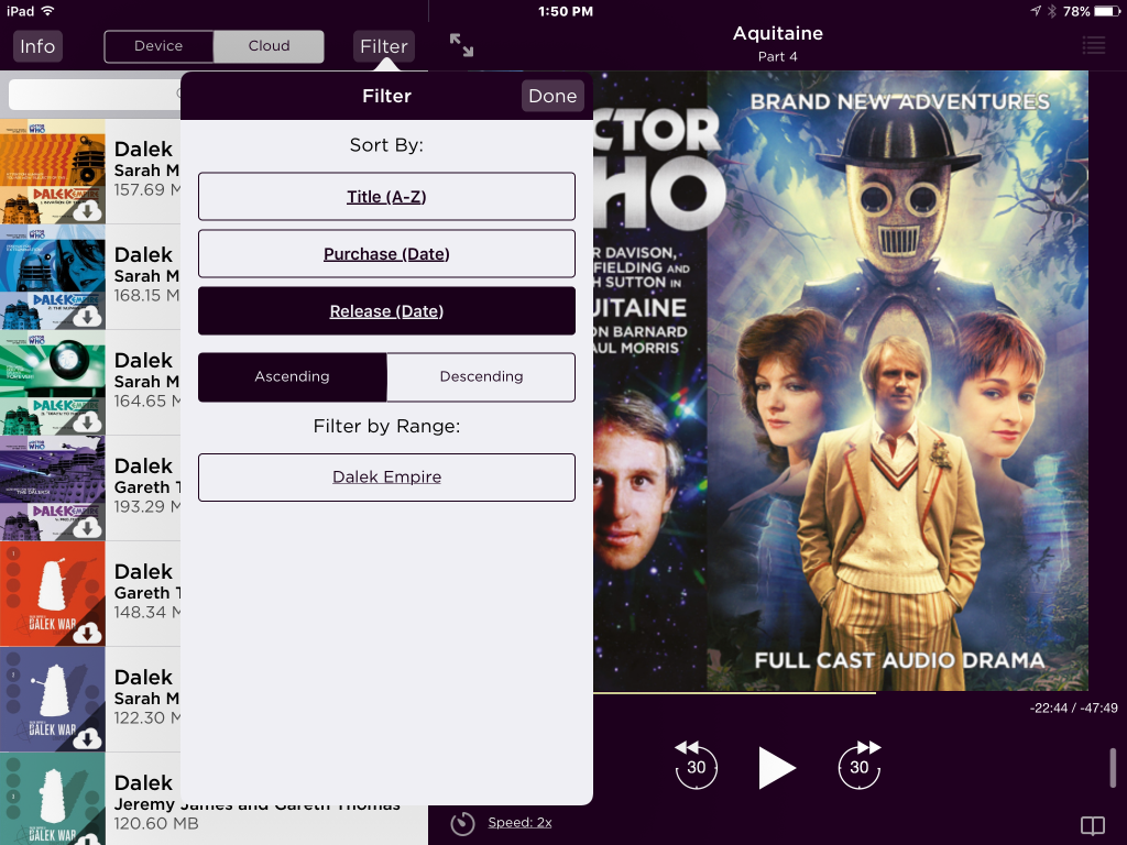 Screengrab of Big Finish Audiobook App