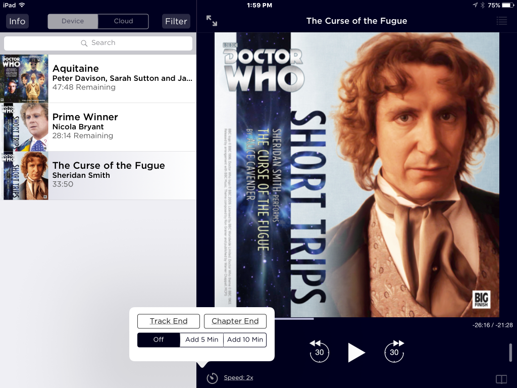 iOS Big Finish app