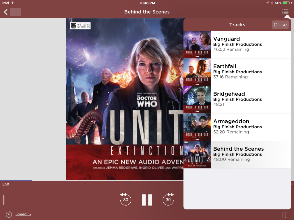 Fullscreen Mode on Big Finish App